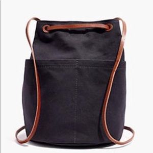 Madewell The Convertible Canvas Backpack Navy Blue